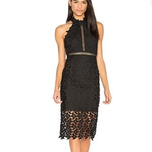 Bardot Halter Lace-Guipure Cocktail Dress